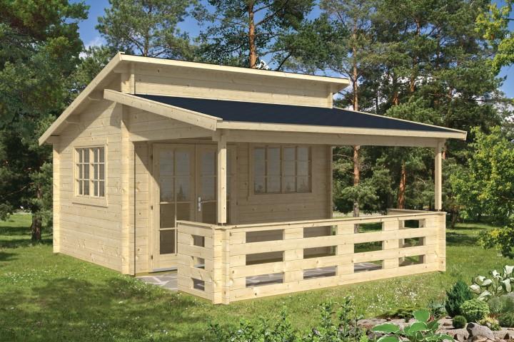 Gartenhaus Blockhütte Jannik + Veranda 250cm 45mm 400 x 300 ...